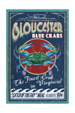 Gloucester, Virginia - Blue Crab Vintage Sign Prints by  Lantern Press