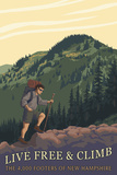 Live Free and Climb, New Hampshire - Hiker Scene Prints by  Lantern Press
