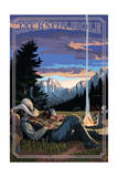 Jackson Hole, Wyoming - Cowboy Camping Night Scene Print by  Lantern Press