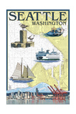 Seattle, Washington - Nautical Chart Posters by  Lantern Press