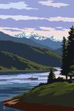 Fisherman and Lake Scene Art by  Lantern Press