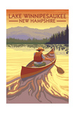 Lake Winnipesaukee, New Hampshire - Canoe Sunset Prints by  Lantern Press