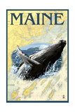 Maine - Humpback Whale and Nautical Chart Posters by  Lantern Press