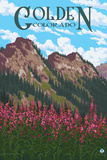Golden, Colorado - Fireweed and Mountains Print by  Lantern Press