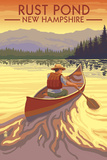 Rust Pond, New Hampshire - Canoe Scene Poster by  Lantern Press