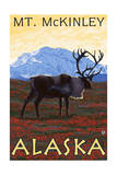 Mt. McKinley, Alaska - Caribou Prints by  Lantern Press