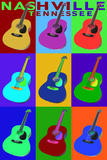 Nashville, Tennessee - Acoustic Guitar Pop Art Poster by  Lantern Press
