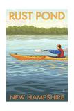Rust Pond, New Hampshire - Kayak Scene Art by  Lantern Press