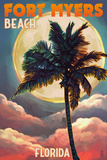 Fort Myers Beach, Florida - Palms and Moon Sunset Art by  Lantern Press