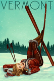 Vermont - Pinup Skier Print by  Lantern Press