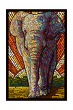 Asian Elephant - Paper Mosaic Prints by  Lantern Press