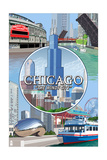 Chicago, Illinois - City Scenes Montage Prints by  Lantern Press
