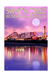 Santa Cruz, California - Beach Boardwalk and Moon at Twilight Prints by  Lantern Press