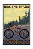 Colorado - Mountain Bike Scene Schilderijen van  Lantern Press
