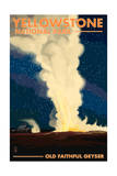 Yellowstone National Park - Old Faithful at Night Poster by  Lantern Press
