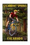 Steamboat Springs, Colorado - Mountain Biker in Trees Poster van  Lantern Press
