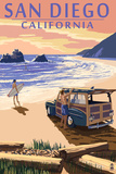 San Diego, California - Woody on Beach Posters by  Lantern Press