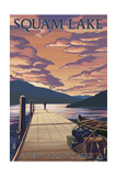 Squam Lake, New Hampshire - Dock and Sunset Print by  Lantern Press