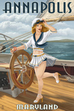 Annapolis, Maryland - Pinup Girl Sailing Prints by  Lantern Press