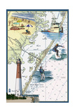 Long Beach Island, New Jersey - Nautical Chart Prints by  Lantern Press