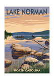 Lake Norman, North Carolina - Lake Scene and Canoe Posters by  Lantern Press