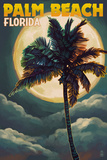 Palm Beach, Florida - Palms and Moon Prints by  Lantern Press