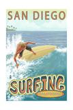 San Diego, California - Surfer Tropical Prints by  Lantern Press