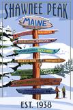 Shawnee Peak, Maine - Ski Signpost Affischer av  Lantern Press