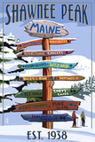 Shawnee Peak, Maine - Ski Signpost Prints by  Lantern Press
