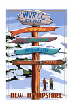 WVRCC, New Hampshire - Snow Destination Signpost Art by  Lantern Press