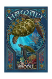 Hawaii - Sea Turtle Art Nouveau Print van  Lantern Press