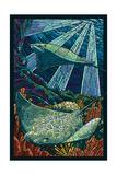 Rays - Paper Mosaic Plakater af  Lantern Press