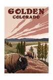 Golden, Colorado - Bison and River Prints by  Lantern Press