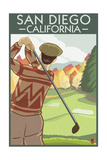 San Diego, California - Golfer Prints by  Lantern Press