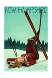 New Hampshire - Pinup Skier Prints by  Lantern Press
