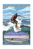 Myrtle Beach, South Carolina - Surfer with Inset Posters by  Lantern Press