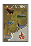 Maine Map and Icons Art