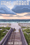 Stone Harbor, New Jersey - Beach Boardwalk Scene Prints by  Lantern Press
