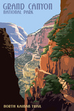 North Kaibab Trail - Grand Canyon National Park Art by  Lantern Press