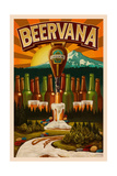 Oregon - Beervana Tap and Valley Poster by  Lantern Press