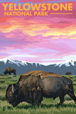 Yellowstone National Park - Bison and Sunset Art by  Lantern Press