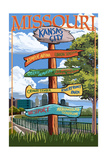 Kansas City, Missouri - Signpost Destinations Print by  Lantern Press