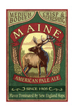 Maine - White Tailed Deer Ale Vintage Sign Poster by  Lantern Press