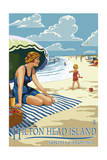 Hilton Head Island, South Carolina - Woman on Beach Prints by  Lantern Press