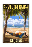 Daytona Beach, Florida - Palms and Hammock Poster by  Lantern Press