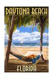 Daytona Beach, Florida - Palms and Hammock Poster by  Lantern Press