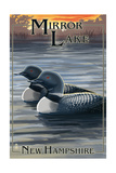 Mirror Lake, New Hampshire - Loon Family Posters by  Lantern Press