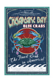Chesapeake Bay, Virginia - Blue Crab Vintage Sign Poster by  Lantern Press