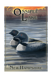 Ossipee Lake, New Hampshire - Loon Family Prints by  Lantern Press