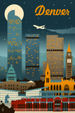 Denver, Colorado - Retro Skyline Poster von  Lantern Press